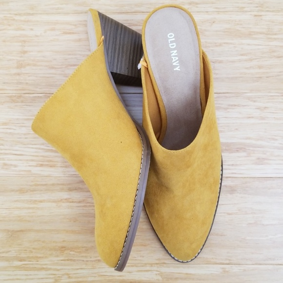 36e0acbab87 🆕️Mustard Yellow Faux Suede Heeled Mule Booties